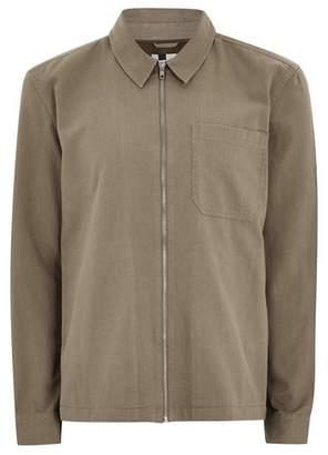 Topman Mens Beige Plain Stone Long Sleeve Overshirt