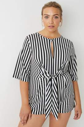 Next Womens Boohoo Plus Striped Tie Front Playsuit