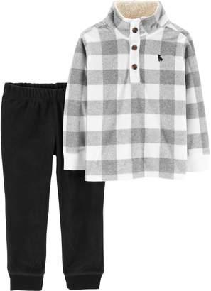 Carter's Baby Boy Buffalo Checked Pullover Top & Fleece Pants Set