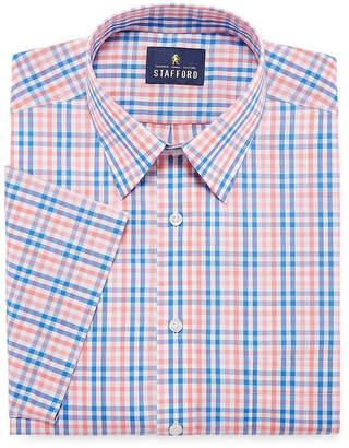 STAFFORD Stafford Travel Easy-Care Short Sleeve Broadcloth Checked Dress Shirt
