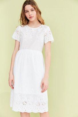 Kimchi Blue Eyelet Babydoll Midi Dress $89 thestylecure.com