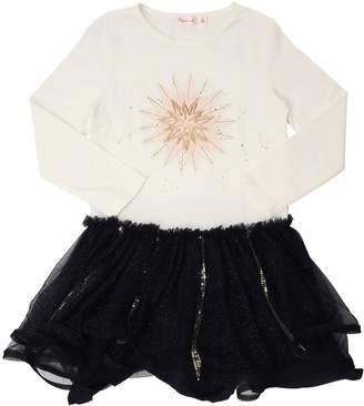 Billieblush Jersey & Glittered Stretch Tulle Dress