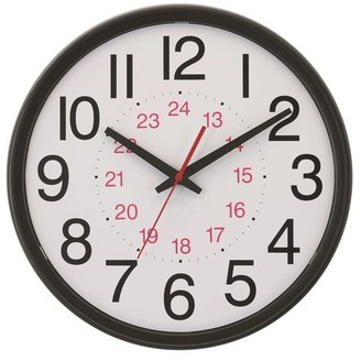 """Victory Light Tempus 14"""" Commercial Wall Clock with 24 Hour Face and Daylight Saving Time Auto-Adjust Movement"""