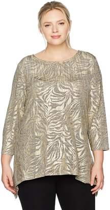 0237c71f12804 Ruby Rd. Women s Plus-Size Embellished Zebra Stripe Printed Foil Heather  Jersey Top