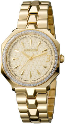 Roberto Cavalli By Franck Muller 33mm Yellow Golden Bracelet Watch w/ Crystal Bezel
