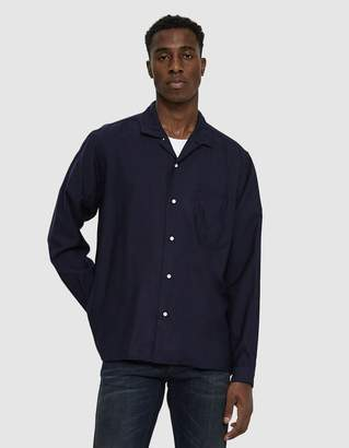 Gitman Brothers Wool Rayon Blend Shirt in Navy