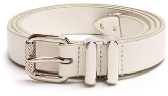 Prada Skinny Leather Belt - Mens - White