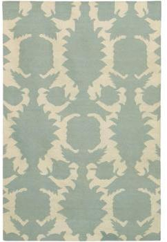 Thomas Paul Rugs Flock Dhurrie in Dove and Cream