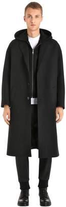 Neil Barrett Wool Cloth Coat W/ Hooded Neoprene Vest