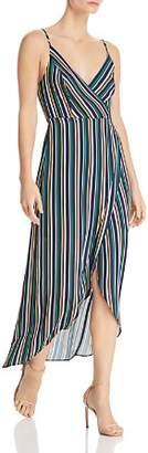 Aqua High/Low Striped Faux-Wrap Dress - 100% Exclusive