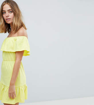 Asos Design Petite Off Shoulder Sundress With Tiered Skirt