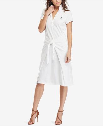 Polo Ralph Lauren Tie-Front Cotton Polo Dress $185 thestylecure.com