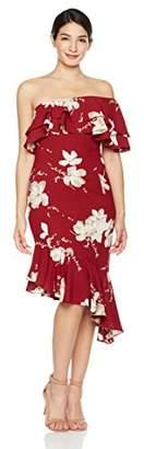 Social Graces Women's One Shoulder Floral Print Ruffle Cocktail Dress