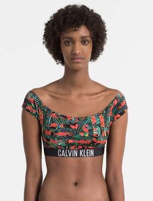 Calvin Klein intense power logo printed off-shoulder top
