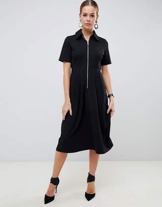 Asos Design DESIGN midi shirt dress with exposed zip