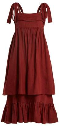 Three Graces London - Marianne Sleeveless Linen Midi Dress - Womens - Burgundy