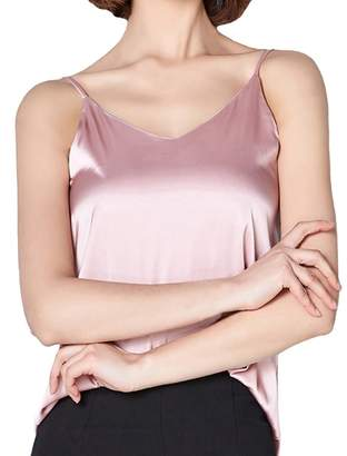 254f9d855e HONFON Satin V Neck Sleeveless Vest Camisole Tank Tops Women halter top
