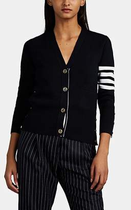 Thom Browne Women's Block-Striped Wool Cardigan - Navy