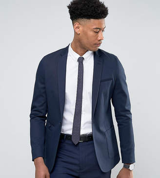 Asos Design TALL Skinny Blazer In Navy Cotton