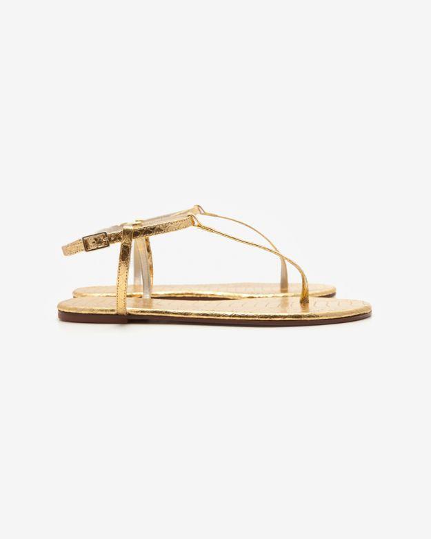 Avec Moderation Python Thong Sandal: Gold