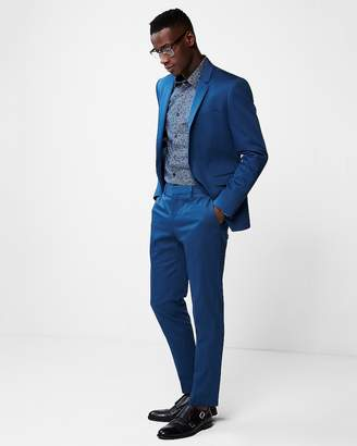Express Extra Slim Blue Cotton Sateen Stretch Suit Pant