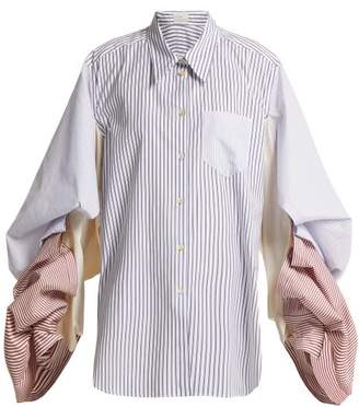 Hillier Bartley - Pinstriped Distorted Sleeve Cotton Shirt - Womens - Blue Multi