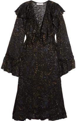 IRO Ruffled Devoré-chiffon Midi Dress - Black