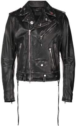 Amiri distressed effects biker jacket