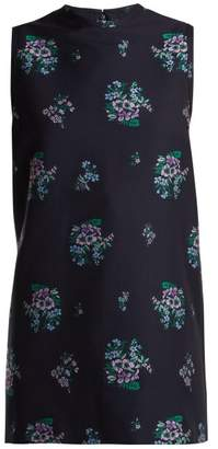 Gucci Floral Jacquard Cotton Blend Tunic Top - Womens - Dark Blue