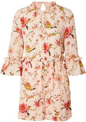 Rachel Zoe Grace Floral-print Cutout Silk-georgette Playsuit