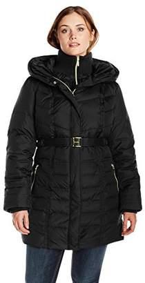 Kensie Women's Plus-Size Long Down Coat with Hood