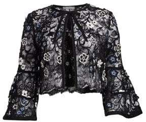 Lela Rose Resort Lace Embroidery Bolero Jacket