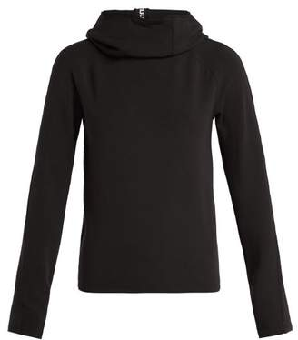 Paco Rabanne Logo Ribbon Funnel Neck Hooded Top - Womens - Black