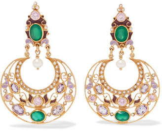 Papi Percossi Gold-plated And Enamel Multi-stone Earrings - Green