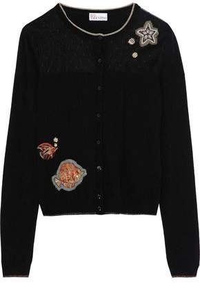 RED Valentino Embellished Point D'esprit-Paneled Stretch-Knit Cardigan