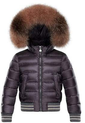 Moncler Arabelle Quilted Ribbed-Trim Puffer Jacket w/ Fur Detail, Size 8-14