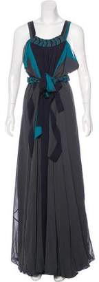 BCBGMAXAZRIA Runway Silk Draped Maxi Dress