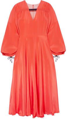 Roksanda Houma Silk Crepe De Chine Midi Dress - Papaya