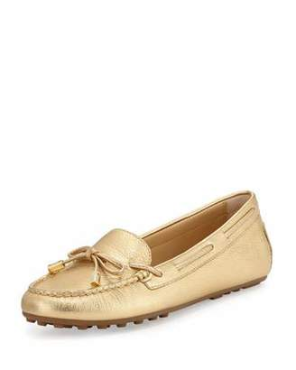 MICHAEL Michael Kors Daisy Metallic Leather Moccasin, Pale Gold $99 thestylecure.com