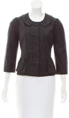 Rebecca Taylor Eyelet-Accented Wool-Blend Jacket w/ Tags