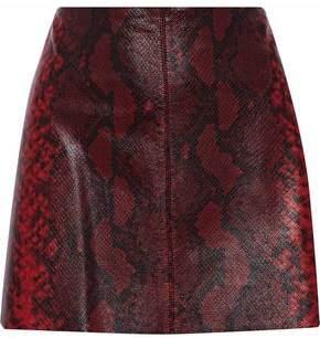 Alice + Olivia Elana Snake-Effect Leather Mini Skirt