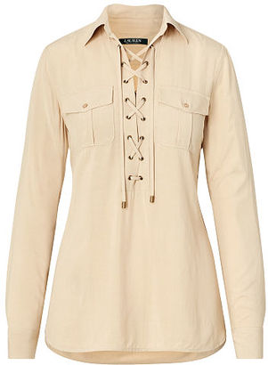 Ralph Lauren Lace-Up Tunic Top $99.50 thestylecure.com
