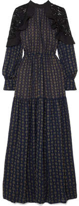 Self-Portrait Macramé Lace-paneled Fil Coupé Chiffon Maxi Dress - Navy