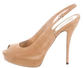 Gucci Peep-Toe Slingback Sandals Brown Peep-Toe Slingback Sandals