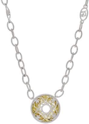 Delatori DeLatori Sterling Silver Gemstone Necklace with Overlay Design