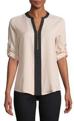 Calvin Klein Zip Front Roll Sleeve Blouse