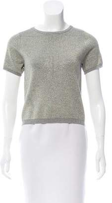 Nicole Miller Metallic-Accented Short Sleeve Top