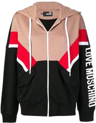 Love Moschino color blocked zip front hoodie