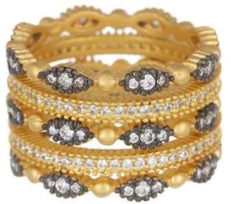 Freida Rothman 14K Gold & Rhodium Vermeil CZ Fleur Bloom Ring Set - Set of 5 - Size 5