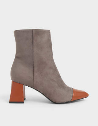 Charles & Keith Two-Tone Textured Calf Boots